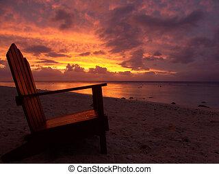 Chair and Sunset - sunset over rarotonga