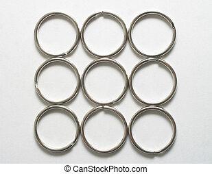 nine rings - Nine silver colored key rings
