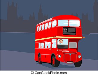 London Bus - London bus with silhouette of the houses of...