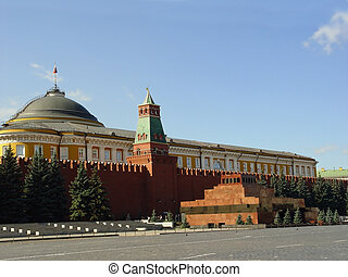 Lenin Mausoleum and Kremlins tower at Red Suare in Moscow,...