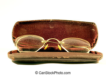 Granny Glasses - old pair of frameless glasses and case...