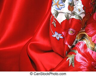 Red and Pink - Red satin and matching silk scarf. Hot...