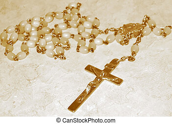 Rosary Beads, sepia - Rosary beads, sepia. These beads were...
