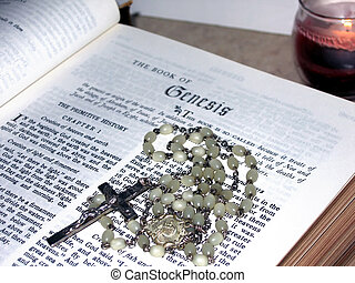 Genesis - The Book of Genesis with rosary beads