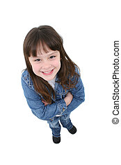 Child Standing - Adorable seven year old girl in denim...