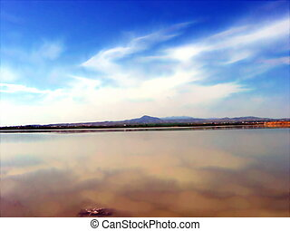 Salt lake - Landscape of a Salt Lake in Larnaca, Cyprus...