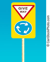 Give way sign board