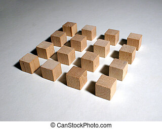Qube array - Wooden toy block qubes forming a 4x4 modular...