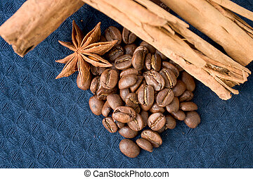 The Spices - Coffee Beans and Cinnamon Stick