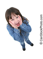 Child Surprised - Adorable seven year old girl in denim...