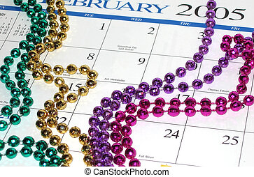 Time for Mardi Gras - Calender depicting the start of Mardi...