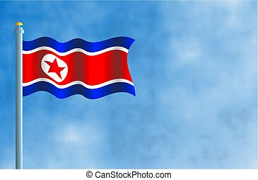 North Korea - National flag of North Korea
