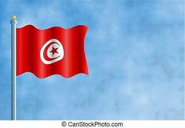 Tunisia - National flag of Tunisia.