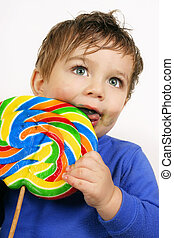 Big Lollipop - Toddler with a very large lollipop