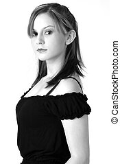 Model in B&W 5 - Pretty model in black on white