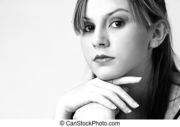 Model in B&W 7 - Pretty model in black on white