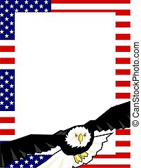 Patriotic Border - American flag and bald eagle page border....