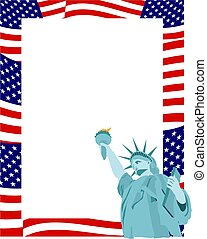 Patriotic Border - American flag and statue of liberty page...