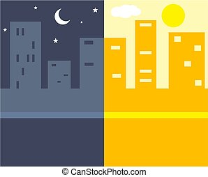 Night and Day - Night and day in the city.