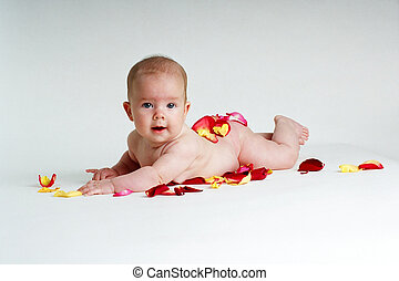 Baby Bottom - Baby with rose petal covered bottom