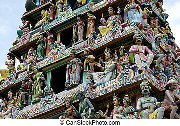 Hindu Temple - Roof statues on a Hindu temple in Singapore