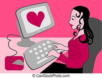 Cyber Love - Woman dating on the internet.
