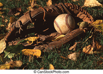 ball and glove - A baseball in a baseball glove.