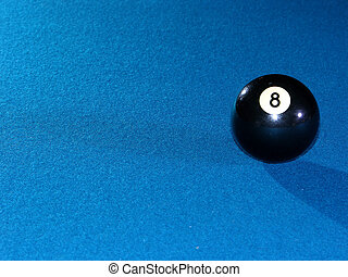 8 Ball alone on a billiards table