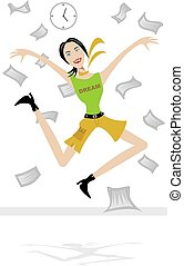 Jump for Joy - Woman jumping in the air with excitement