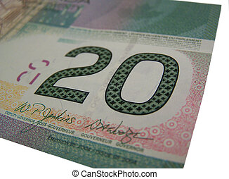 Canadian 20 - Closeup of the corner of a 20 dollar bill