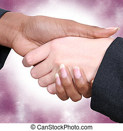 Female Handshake - Two woman shaking hands. Business suit...