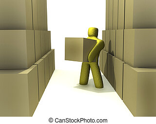 warehouse enviroment - 3d person lifing a box in an abstract...