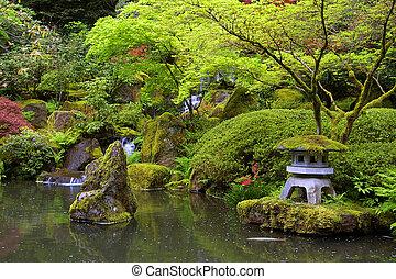 charca, japonés, jardín