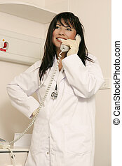 Medical staffer on phone