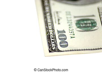 100 Corner - Corner shot of an isolated 100 dollar bill....