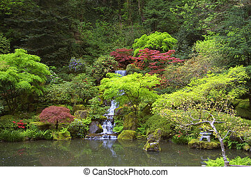 Japanese Waterfall - Waterfall in Portland Japanese Gardens