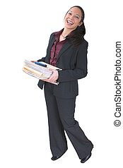 Woman with Folders - Beautiful young Asian woman holding a...