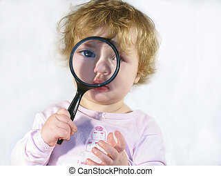 Inspector Baby - Toddler/baby holding a magnifying glass to...