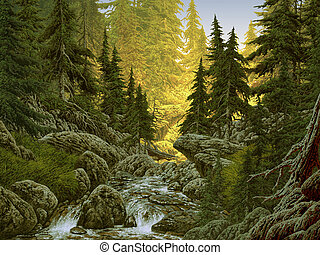 Mountain Stream - Image from an original painting by Larry...