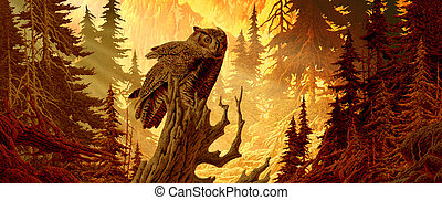 Great Horned Owl - Image from an original painting by Larry...