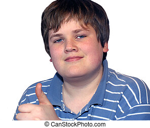 Thumbs up teen - Young teen boy on white background with...