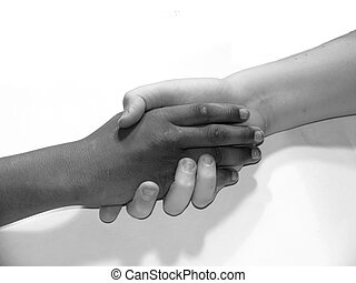 diversity handshake - diversity: black and white young teen...