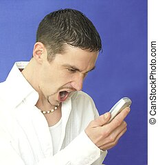 what - man yelling in cell phone
