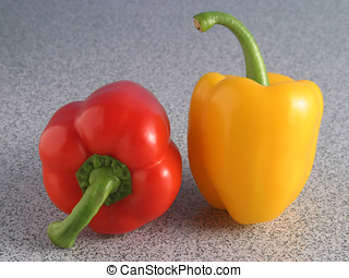 Peppers - Red and yellow peppers side by side