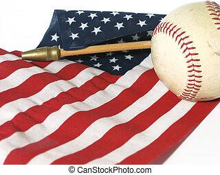 Baseball - American flag and baseball