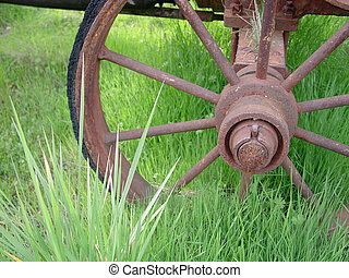 Rusted Spokes - Rusty wagon spokes.