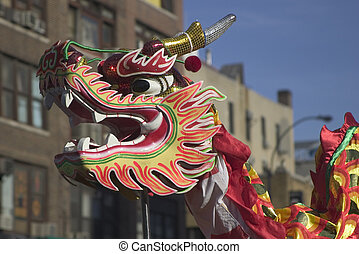 Dragon - Chinese Dragon Head at New Year Parade