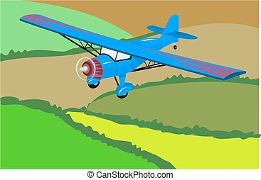 Light Aircraft - Light aircraft flying over some fields.