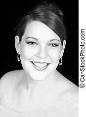 Woman in Monochrome - Formal portrait of a beautiful young...