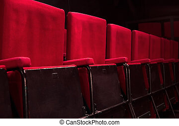 Red theatre seats - Red audience seats in studio theatre
